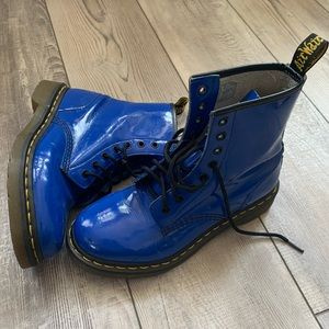 Dr. Martin's 1460 Blue patent leather boots